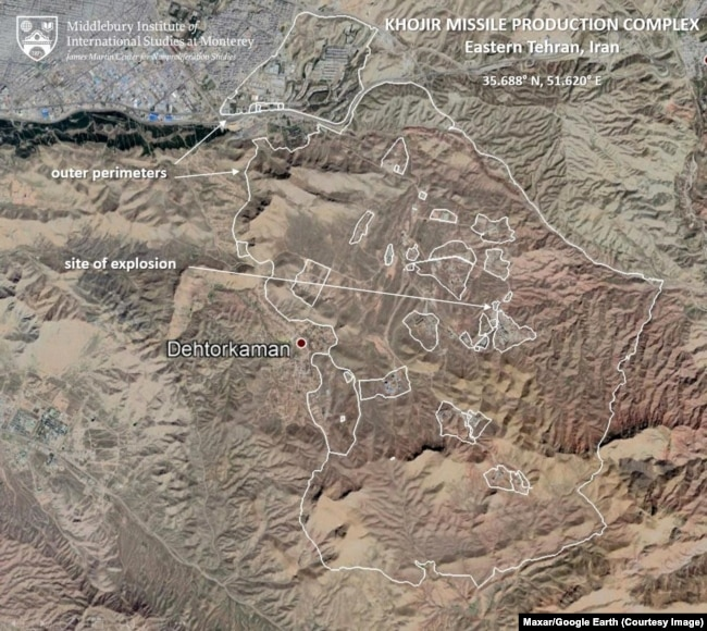 The perimeters of the Khojir missile production and development complex. Image: Maxar/Google Earth