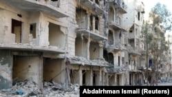 Алепподағы қираған ғимараттар. 19 қазан, 2016 жыл.