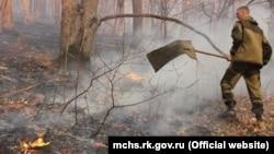 Тушение лесных пожаров в Крыму, иллюстрационное фото