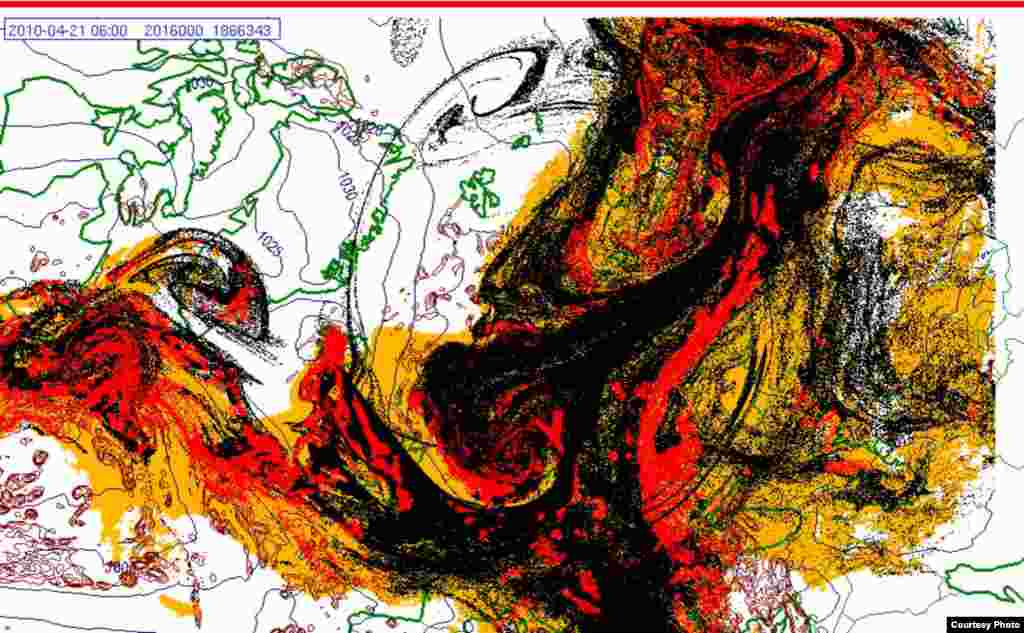 Projected spread of Icelandic ash cloud (21.4. 0600 UTC) - These images show a projection of the movement of the ash clouds from the Iceland volcanic eruption moving over Europe. The colors on the map represent: yellow: ash that has fallen by itself red: ash that has fallen by precipitation black: the actual ash cloud Source: Norwegian Meteorological Institute