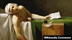 """Jacques-Louis David, """"Asasinarea lui Marat"""" (1793)"""