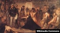 """Картина художника Яна Матейко """"Польша-1863 (Закованная Польша)"""". Изображенная женщина в кандалах - образ Польши. Белокурая девушка рядом с ней символизирует Литву."""