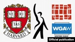 از راست: نشان انجمن نویسندگان شرق و غرب، انجمن بازیگران سینمایی آمریکا-فدراسیون هنرمندان رادیو/تلویزیون، دانشگاه هاروارد