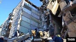Место взрыва дома в Магнитогорске