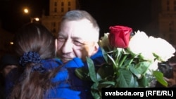 Belarus -- Former presidential candidate Andrei Sannikau after he has been realized from prison. Minsk 15apr2012