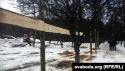 Пачатак будаўніцтва каля Курапатаў, 16 лютага 2017 году