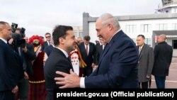 Уладзімір Зяленскі і Аляксандар Лукашэнка, кастрычнік 2020