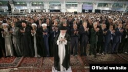 Supreme Leader, Ali Khamenei leading Eid Fitr prayers, where insulting poem was read