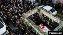 Funeral procession for a former Revolutionary Guard Commander in a township near Tehran, Iran, March 23, 2020.