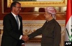 Лидер иракских курдов Масуд Барзани и глава Пентагона Эштон Картер