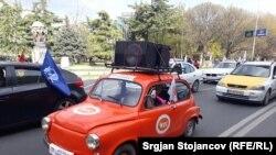 """Скопје- Протест со возила на Конфедерацијата на слободни синдикати (КСС) под мотото """"Доста е, претеравте"""""""