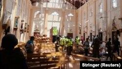 После взрыва в одном из храмов на Шри-Ланке, 21 апреля 2019 года.