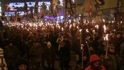 У гарадах Украіны адзначылі дзень нараджэньня Сьцяпана Бандэры (відэа)