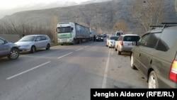 Kyrgyzstan. Cars stranded at Batken. Kyrgyz-Tajik border. March 2019