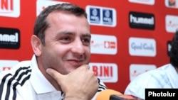 Armenia -- Vartan Minasian - Head coach of the National Soccer Team of Armenia at a press conference, 04Jun2012