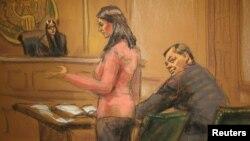 Евгений Буряков (справа) сидит в суде. Рисунок сделан 26 января 2015 года в Нью-Йорке.