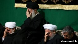 Iran's Supreme Leader Ali Khamenei (C), Iranian President Hassan Rouhani(2nd R) and the top IRGC commander Mohammad Ali Jafari, in a religious ceremony in Tehran on March 2, 2017.
