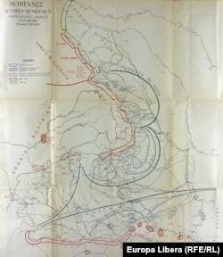 Harta cu dispunerea Armatei Române la începutul campaniei din 1916 (Sursa: Arhiva Ministerului Afacerilor Externe)