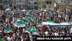 Протесты в Сирии против наступления на провинцию Идлиб, контролируемую повстанческими силами. 7 сентября 2018 года.