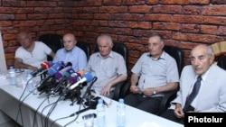 Armenia -- Friends of businessman Levon Hayrapetian at a press conference. 22July, 2014