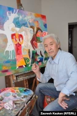 Омирзак Рыстанулы, художник. Алматы, апрель 2013 года.