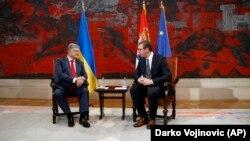 Президент України Петро Порошенко під час переговорів зі своїм сербським колегою Александаром Вучичем, 3 липня 2018 року