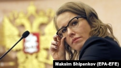 Presidential candidate Ksenia Sobchak attends a hearing at the Russian Supreme Court in Moscow on February 16.