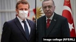 Колаж: Еманюел Макрон (вляво) и Реджеп Ердоган