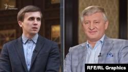 Журналіст Радіо Свобода Михайло Ткач (л) і олігарх Рінат Ахметов (п)