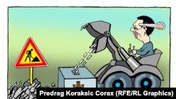 Илустрација- карикатура на претседателот на Србија Александар Вучиќ на српскиот карикатурист Предраг Кораксиќ Коракс