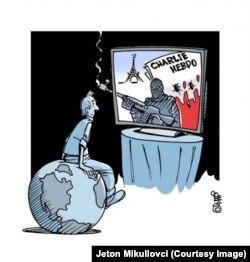 Karikatura Jetona Mikullovcia u Kohi Ditore