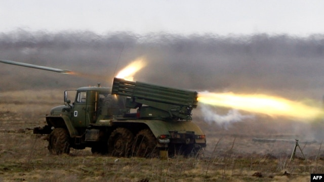 A pro-Russian rebel spokesman denied that the separatists had Grad rockets in the area where the attack occurred. (file photo)
