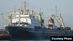 "A photo from a Greenpeace blacklist of the Russian-flagged trawler ""Oleg Naidenov"""