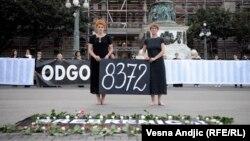 Akcija Žena u crnom u centru Beograda u znak sećanja na žrtve genocida u Srebrenici, 10. jul 2014.