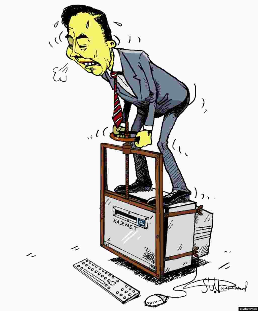 Атауы белгісіз карикатура. Авторы: Мурат Дильманов (Алматы).