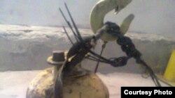 """Радиоактивті"""" цезий-137"""" салынған темір контейнердің сыртқы сұлбасы. Сурет Маңғыстау облыстық ішкі істер басқармасынан алынған. 28 тамыз 2014 жыл."""