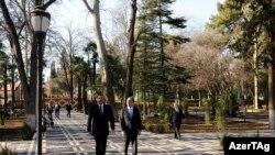 Gəncəyə səfəri zamanı prezident İlham Əliyev yeni parkın açılışını etdi