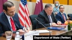 دیدار مایک پومپیو وزیر خارجه امریکا (راست) با عبدالرحمن الثانی وزیر خارجه قطر در واشنگتن
