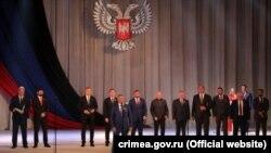 Председатель подконтрольного России парламента Крыма Владимир Константинов на мероприятиях в Донецке, май 2021 года