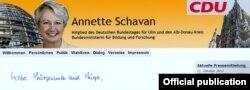 Pagina web a Annettei Schavan
