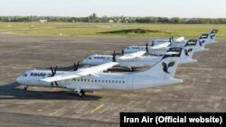 French-made ATR-72s owned by Iran Air sit on the hanger of Iran Air in Tehran.