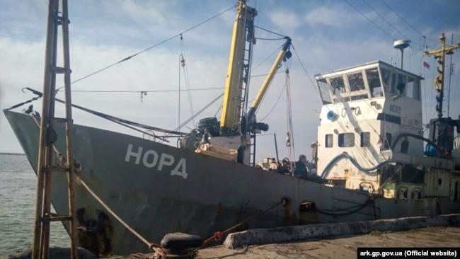 Арестованное рыболовецкое судно «Норд» в порту Бердянска, март 2018 года