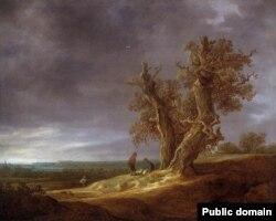 Ян ван Гоен, «Краявід з двума дубамі» (1641)