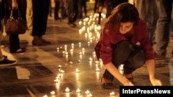 Сегодня ночью на проспекте Руставели прошла акция «Нет насилию!»