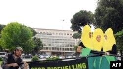 یک تجمع اعتراضی در بیرون از محل برگزاری اجلاس سه روزه سازمان خواربار و کشاورزی جهانی در رم.(عکس: AFP)