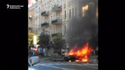 Journalist's Car In Flames Following Deadly Blast
