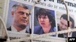 Naslovnica novina sa fotografijama premijera Hashima Thacija, Ivice Dačića i posrednice u dijalogu Catherine Ashton
