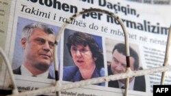 Novine sa fotografijama Hashima Thacija, Catherine Ashton i Ivice Dačića.