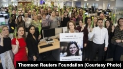 Colleagues of Nazanin Zaghari at Thomson Reuters on the one year anniversary of her detention.
