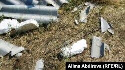 Книга «Ребенок и уход за ним» лежит рядом с остатками дома после взрыва в дачном поселке Кызылжар на окраине Актобе. 30 июля 2011 года.